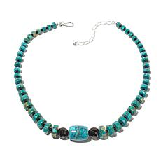 "Jay King Turquoise and Black Agate 18"" Necklace"