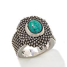 King Baby Sterling Silver Oval Turquoise Textured Ring