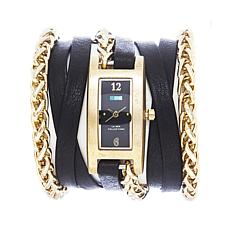 La Mer Palermo Wheat Chain Black Leather Wrap Watch