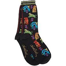Laurel Burch Socks - Dog Portraits - Black