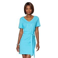 Lisa Kline Short Sleeve Paradise Dress with Belt