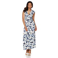 Liz Lange Maxi Dress with Flattering Faux-Wrap Waist