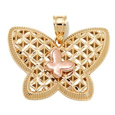 "Michael Anthony Jewelry® 10K 2-Tone ""Butterfly"" Pendant"