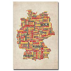 Michael Tompsett 'Germany Cities Text Map' Giclee Print