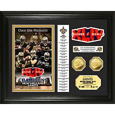 NFL SB XLIV Champs Goldtone Coin Banner Photo - Saints