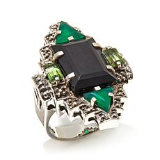"Nicky Butler 1.70ctw Onyx and Multigemstone ""Deco"" Ring"