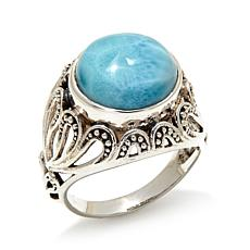 Nicky Butler Round Larimar Sterling Silver Scroll Ring
