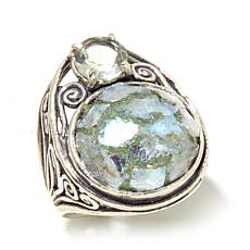 Noa Zuman Sterling Silver Roman Glass & Prasiolite Ring