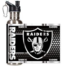 Oakland Raiders Stainless Steel Water Bottle with Metal
