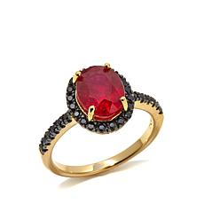 Rarities Ruby and Black Spinel Vermeil Ring