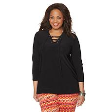 Slinky® Brand 3/4-Sleeve Tunic with Lace-Up Neckline