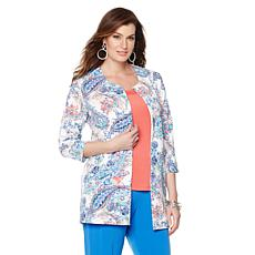 Slinky® Brand Printed Duster Jacket with Pockets