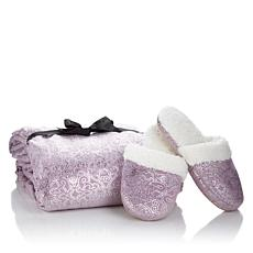 Soft & Cozy Foil Damask Throw and Slippers Set