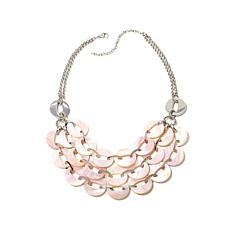 Stately Steel Multirow Pink Mother-of-Pearl Necklace