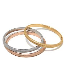 Stately Steel Set of 3 Glitter Bangle Bracelets