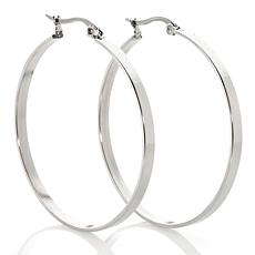 Stately Steel Square Tube Round Hoop Earrings