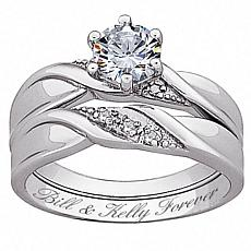 Sterling Silver CZ & Diamond Accent Wedding Ring Set