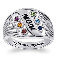 "Sterling Silver ""Mom"" Family Birthstone Ring"