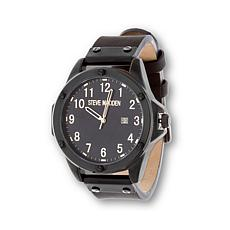 Steve Madden Round Dial Black Leather Strap Watch