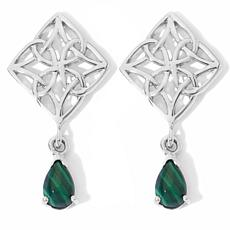 Triangular Knot Earrings with Malachite Accents