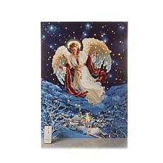 Winter Lane Fiber-Optic Lit Canvas Art - Angel Above