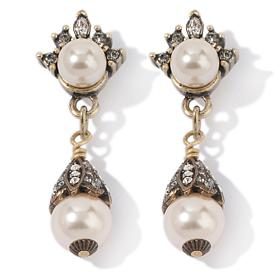 "Heidi Daus ""Quite Charming"" Crystal Pearl Drop Earrings"
