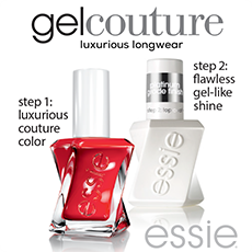essie gel couture luxurious longwear. step 1: luxurious couture color. step 2: flawless gel-like shine.