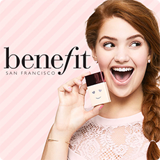 benefit san francisco. a smiling woman holding a smiling makeup bottle