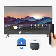 a samsung tv with wireless controllers