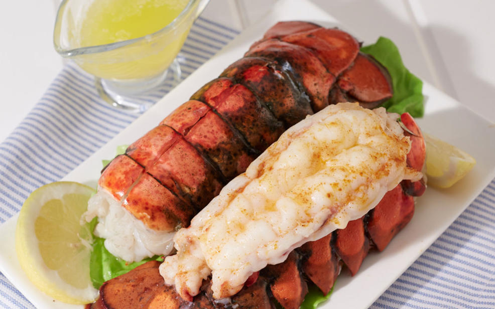 lobster brushed with butter