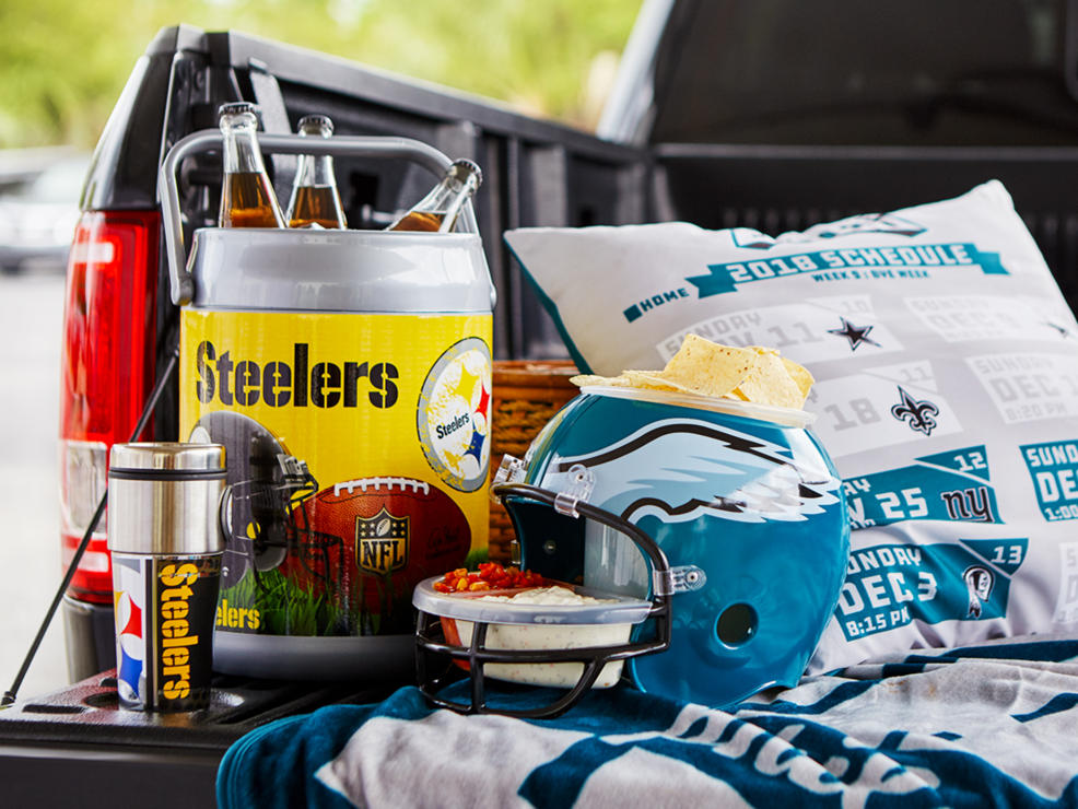 football helmets, chips, beer barrels.