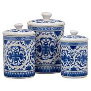 10 Strawberry Street Chinoiserie 3-piece Canister Set - White/Blue