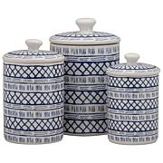 10 Strawberry Street Marina 3-piece Canister Set - White/Blue