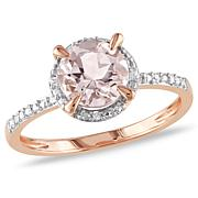 10K Rose Gold 1.17ctw Morganite and .05ct Diamond Ring
