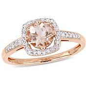 10K Rose Gold .99ctw Morganite and Diamond Halo Ring