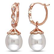 10K Rose Gold Freshwater Pearl and Diamond Hoops