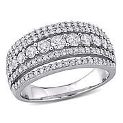 10K White Gold 1ctw Diamond 4-Row Anniversary Band Ring