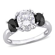10K White Gold 2ctw Moissanite and 1ctw Black Diamond 3-Stone Ring