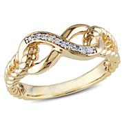 10K Yellow Gold 0.05ctw White Diamond Infinity Band Rin