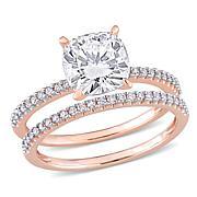 14K Gold 2ctw Moissanite and .23ctw Diamond Cushion 2pc Ring Set