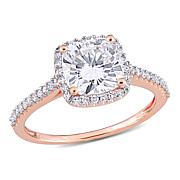 14K Rose Gold 2.25ctw Moissanite and .23ctw Diamond Halo Ring