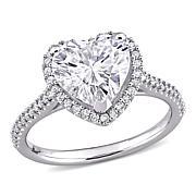 14K White Gold 3ctw Moissanite and .26ctw Diamond Heart Halo Ring