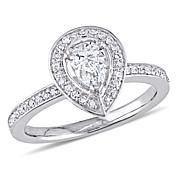 14K White Gold .60ctw Pear-Shaped Diamond Halo Engagement Ring