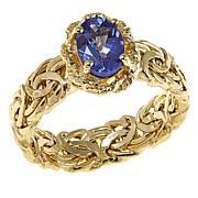 14K Yellow Gold 0.7ct Tanzanite Byzantine Band Ring