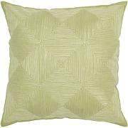 "18"" x 18"" Embroidered Cotton Pillow - Light Green"