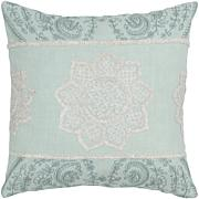 "18"" x 18"" Paisley Floral Pillow - Aqua/White"