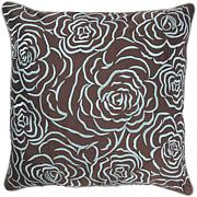 "18"" x 18"" Rose Pillow - Aqua/Brown"