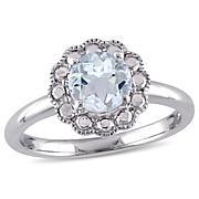 1ctw Aquamarine 10K White Gold Flower Ring