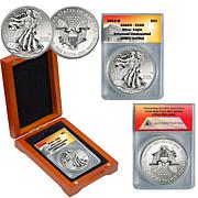 2013 EU69 ANACS Silver Eagle Dollar in Wooden Box