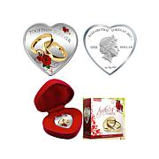 """2017 Colorized """"Together Forever"""" Heart Silver Coin"""